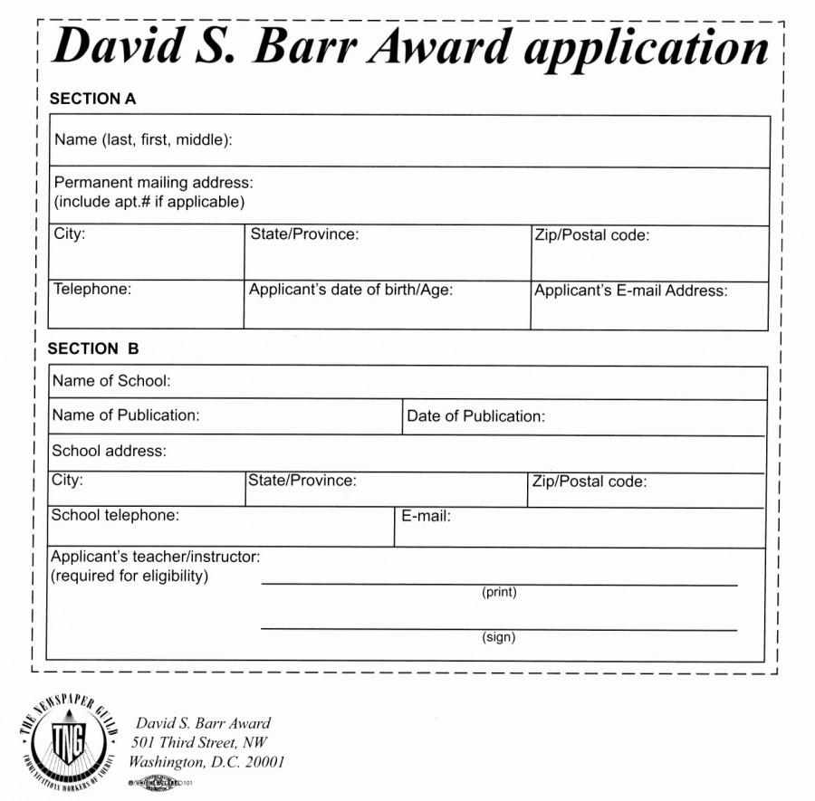David S. Barr Award is Accepting Applications